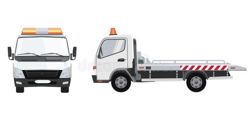 Biała holownicza ciężarówka z frontowym i bocznym widokiem Płaski wektor z stałego koloru projektem ilustracji