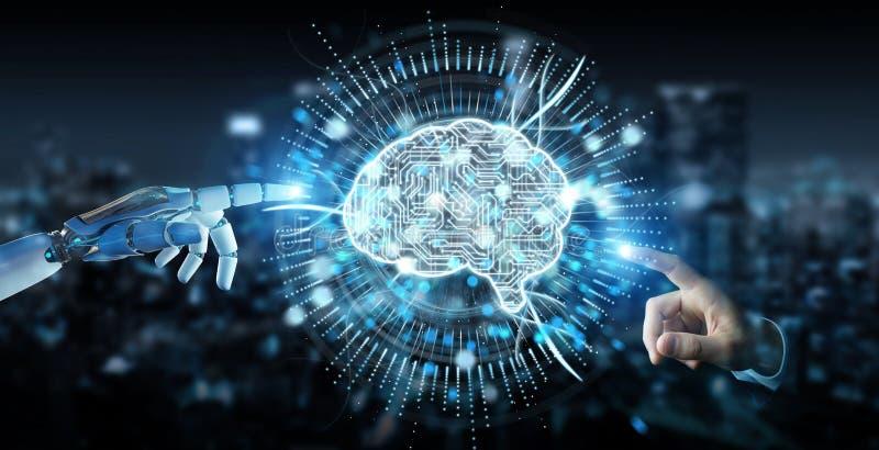 Biała humanoid ręka używać cyfrową sztucznej inteligenci ikonę h