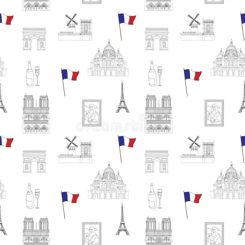 Biała i czarna Paryska wektorowa bezszwowa deseniowa pociągany ręcznie punkt zwrotny ilustracja barwił tło ilustracji