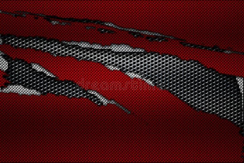 Biała i czerwona węgla włókna łza na czarnej kruszcowej siatce obrazy royalty free