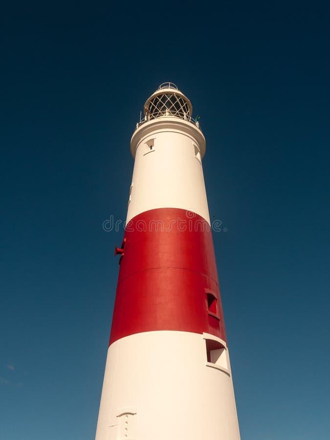 biała i czerwona wielka latarni morskiej wyspa Portland weymouth buildin zdjęcia stock