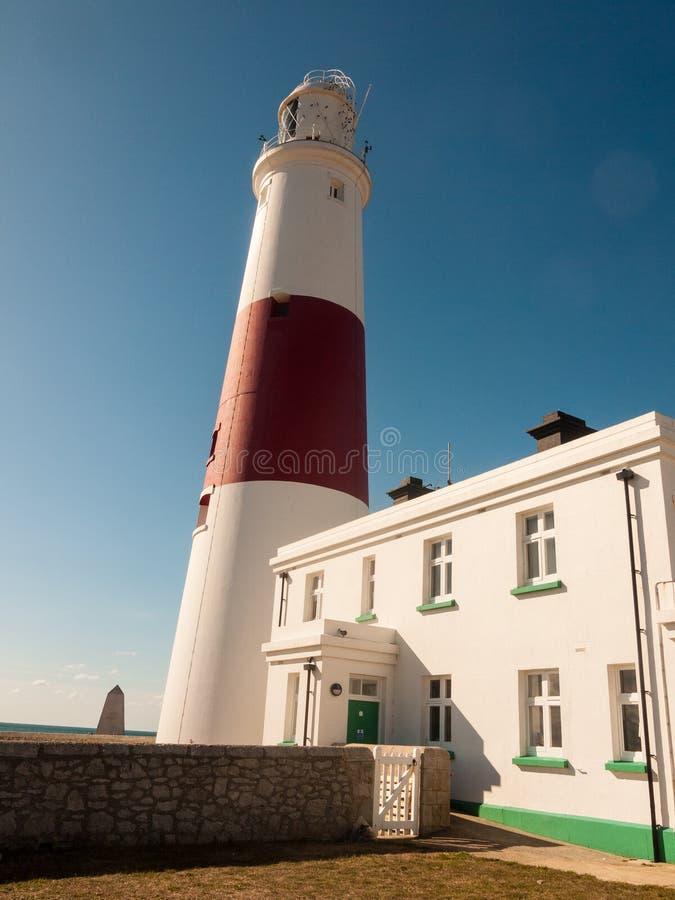 biała i czerwona wielka latarni morskiej wyspa Portland weymouth buildin fotografia stock
