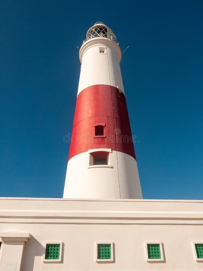 biała i czerwona wielka latarni morskiej wyspa Portland weymouth buildin zdjęcie stock