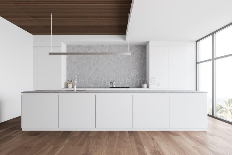 Biała i drewniana kuchnia z kontrapami ilustracji