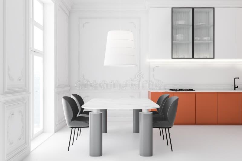 Biała i pomarańczowa kuchnia z długim stołem ilustracja wektor