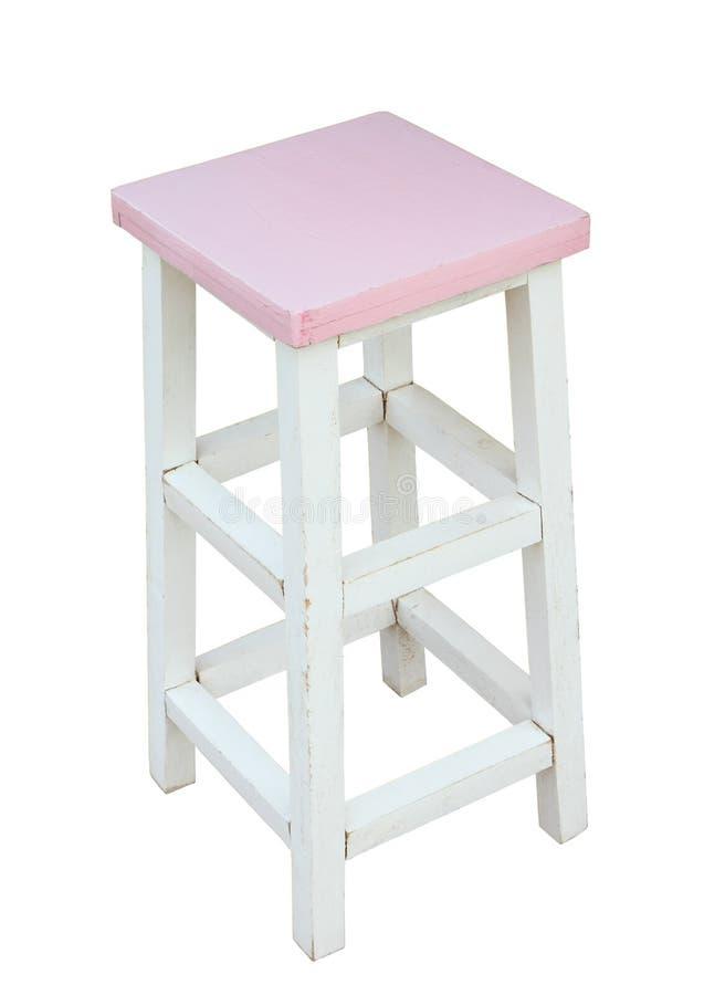 Biała i różowa drewniana stolec odizolowywająca ręcznie robiony, ścinek ścieżka zdjęcia royalty free