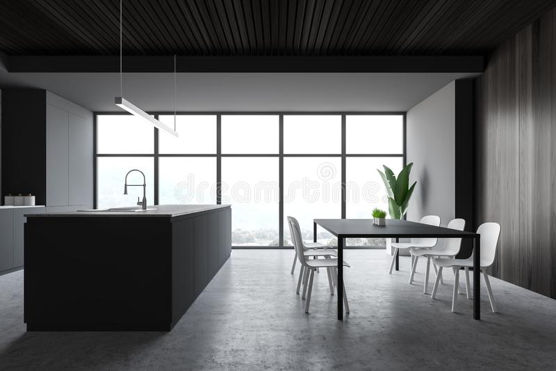 Biała i szara kuchnia z stołem i wyspą ilustracja wektor