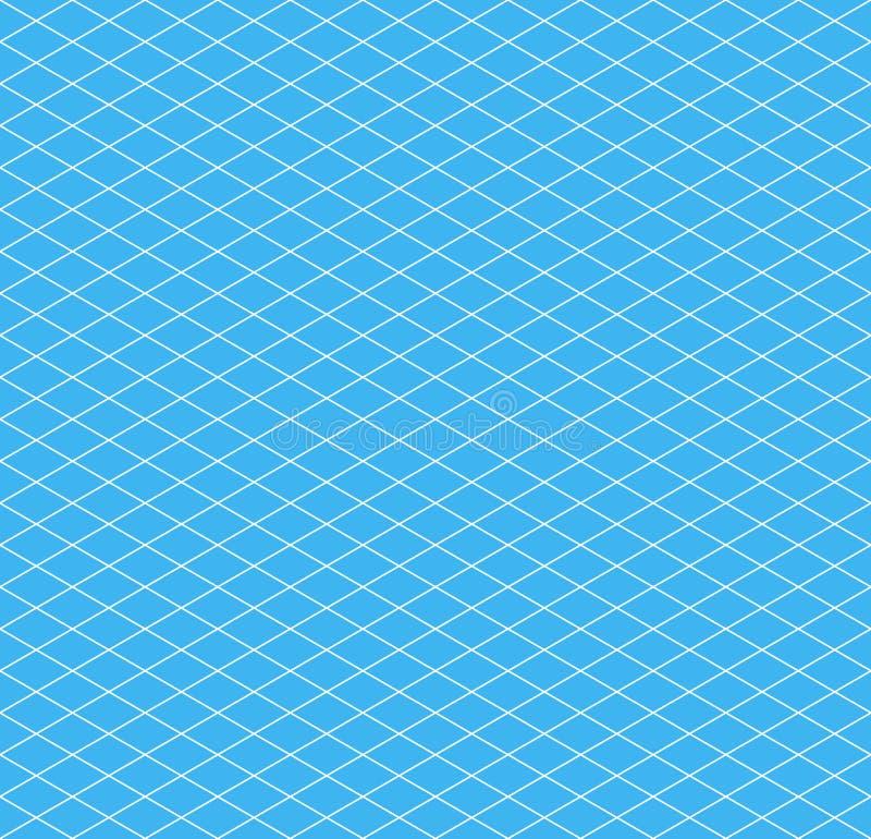 Biała isometric siatka na cyan, bezszwowym wzorze, ilustracji