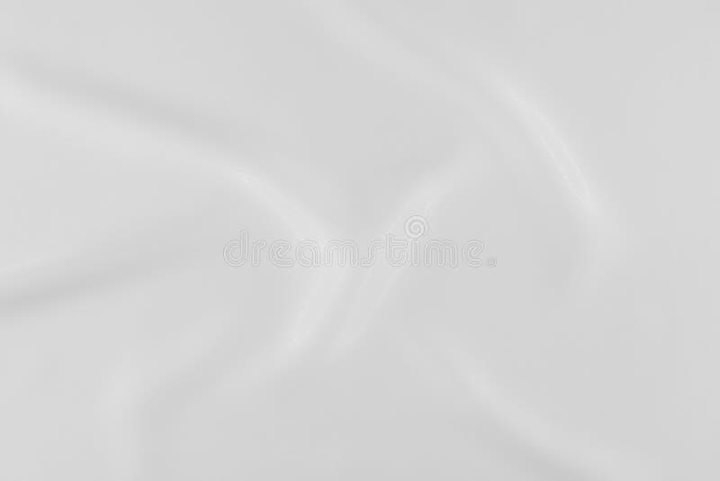 Biała jedwabnicza tkanina z gładkimi namarszczeniami i lekceważy glosę obrazy stock
