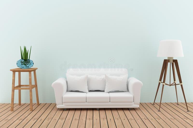 Biała kanapa dekoruje z drzewem i lampa w zielonym izbowym wewnętrznym projekcie w 3D odpłaca się wizerunek ilustracja wektor