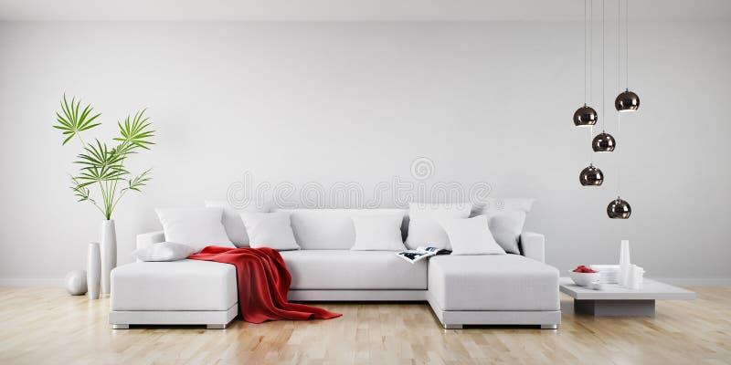 Biała kanapa w pogodnym żywym pokoju royalty ilustracja
