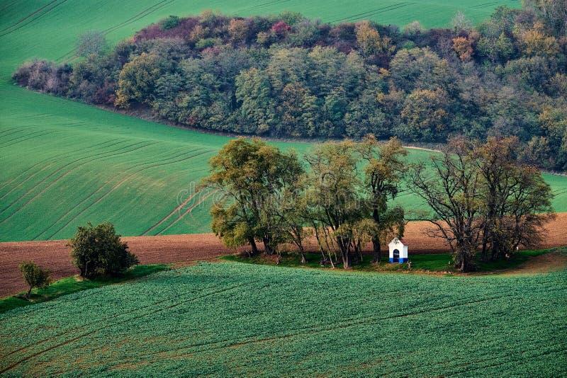 Biała kaplica gnieździł się w drzewach w ostatnich promieniach słońce na tle zieleni wzgórza i jesień krzak, Kaplicy stBarbara zdjęcia stock