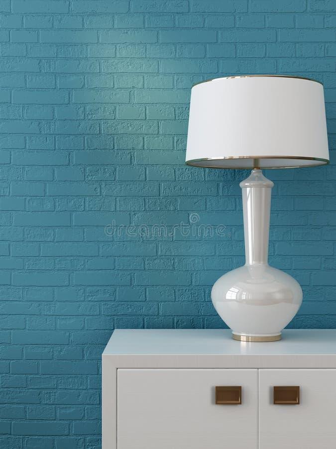 Biała klatka piersiowa kreślarzi i lampa zdjęcia royalty free