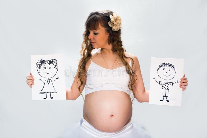 biała kobieta w ciąży tło obraz stock