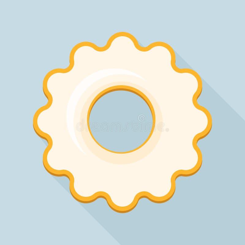 Biała kremowa ciastko ikona, mieszkanie styl ilustracja wektor