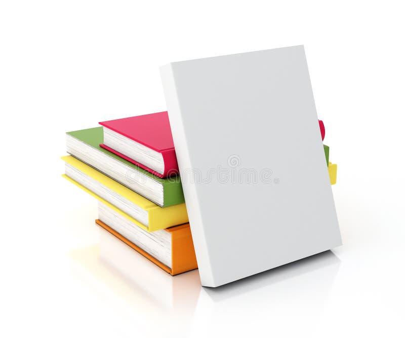 Biała książka opierał na stubarwnych książkach góruje, odizolowywał na białym tle, royalty ilustracja