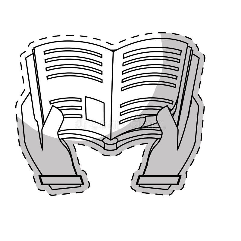 Biała książka w ręki ikony wizerunku ilustracja wektor