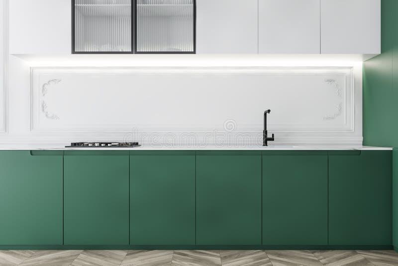 Biała kuchnia współczesna z zielonymi kontraperami ilustracji