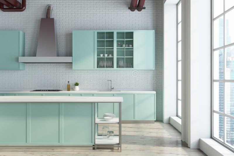 Biała kuchnia, zielonych countertops zamknięty up ilustracja wektor