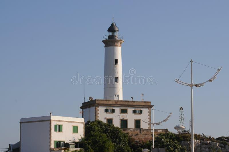 Biała latarnia morska Es Botafoc w Ibiza Balearic wyspach Soain obraz stock