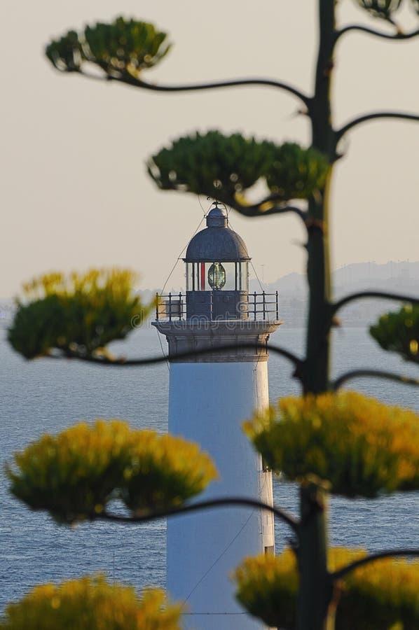 Biała latarnia morska Es Botafoc w Ibiza Balearic wyspach Soain zdjęcia stock