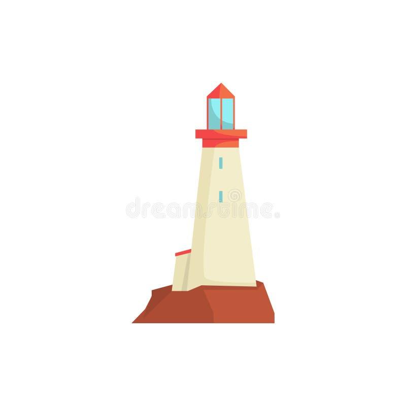 Biała latarnia morska, reflektoru wierza dla morskiej nawigaci przewodnictwa wektoru ilustraci ilustracja wektor
