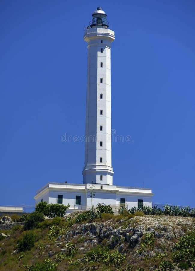 Biała latarnia morska Santa Maria Di Leuca zdjęcie stock