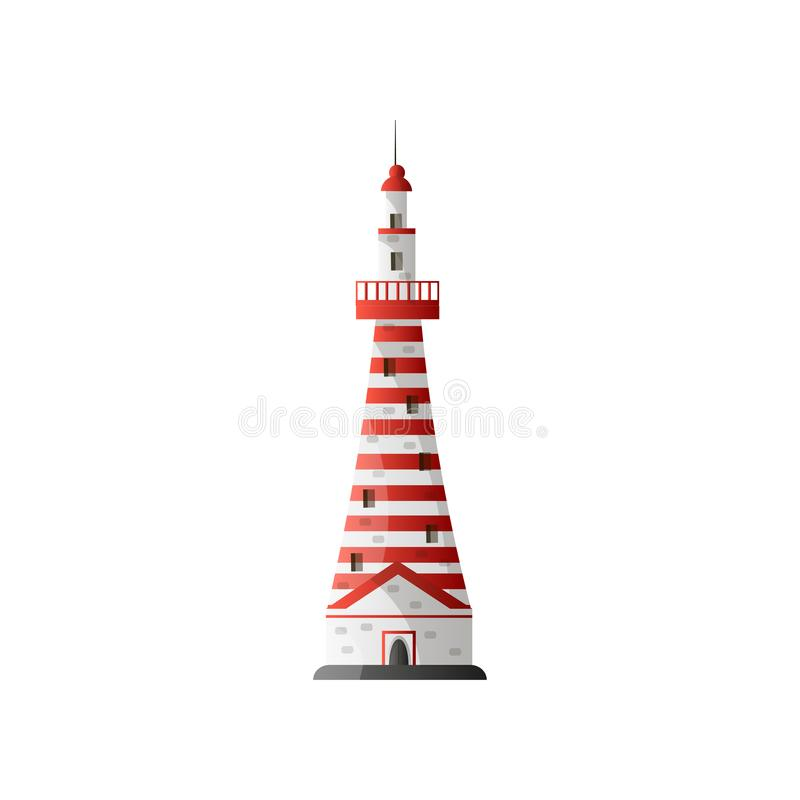 Biała latarnia morska w czerwonych lampasach w płaskim projekcie odizolowywającym na białym tle royalty ilustracja