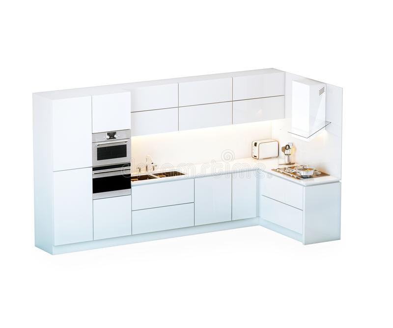 Biała Luksusowa kuchnia W technika stylu (Odizolowywającym Na bielu) ilustracja wektor