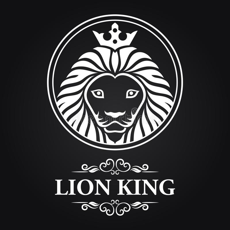 Biała lwa królewiątka głowy maskotka na czarnym tle royalty ilustracja