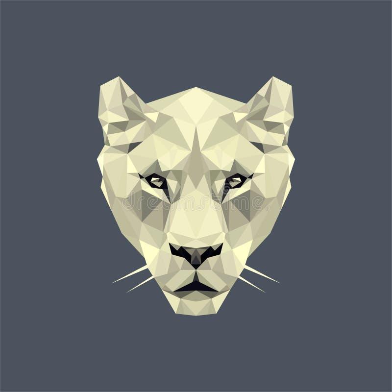 Biała lwica lowpoly ilustracja wektor