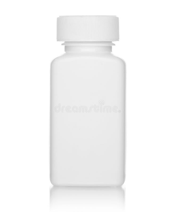 Biała medyczna butelka, odosobniona na bielu zdjęcie stock