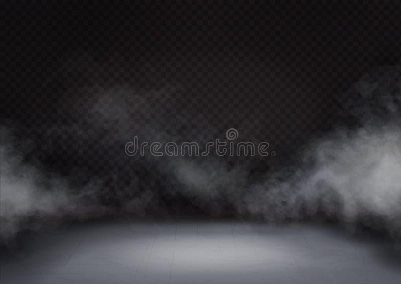 Biała mgła lub dym na ciemnym tle Tekstura chmury lub mgły na podłodze lub podłożu Wektor realistyczny royalty ilustracja