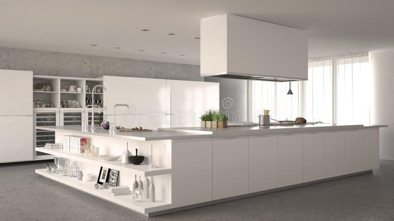 Biała minimalistic kuchnia zdjęcia stock