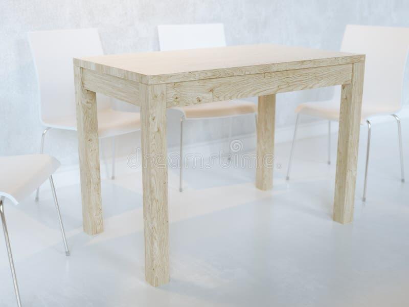 Biała Minimalistyczna jadalnia Z Drewnianymi stołu I dykty krzesłami Z oświetleniem obraz stock