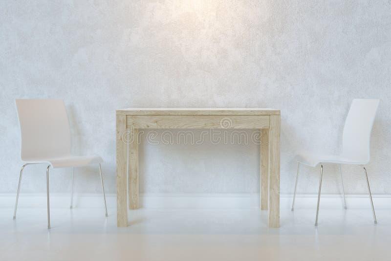 Biała Minimalistyczna jadalnia Z Drewnianymi stołu I dykty krzesłami Z oświetleniem zdjęcie royalty free
