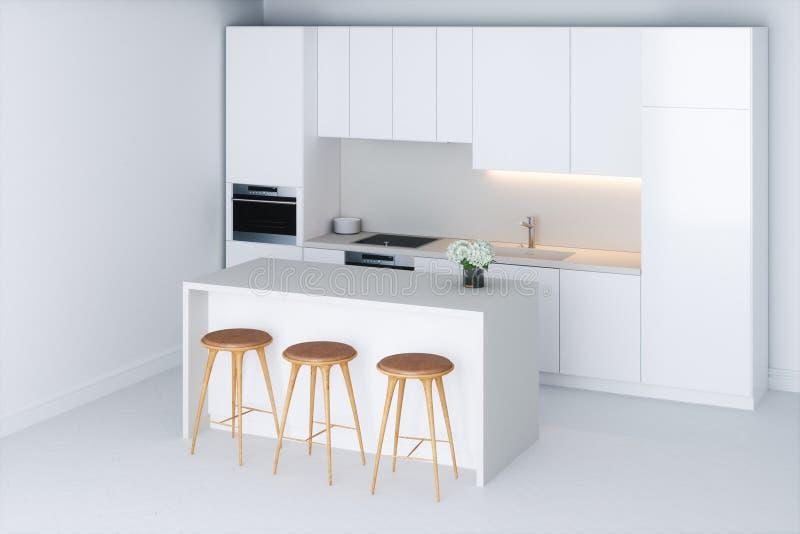 Biała minimalistyczna kuchnia w nowym pokoju ilustracji