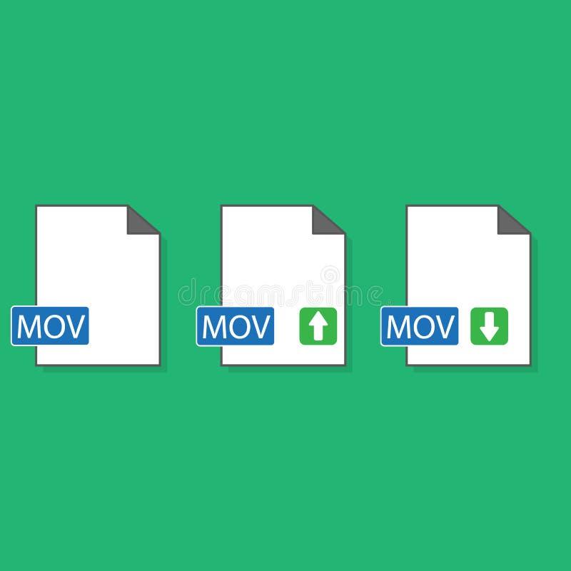 Biała MOV kartoteki dokumentu ikona Ściągań mov zapinają ikonę odizolowywającą na białym tle MOV kartoteki symbol Audio i wideo k ilustracja wektor