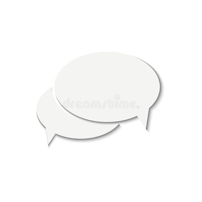 Biała mowa gulgocze wektorową ikonę z cieniem, ciie out od papieru ilustracja wektor