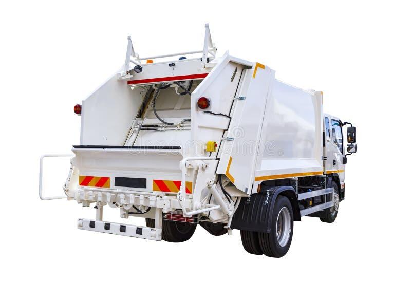 Biała nowożytna ciężarówka dla śmieciarskiego usuwania odizolowywa na białym tle zdjęcia stock