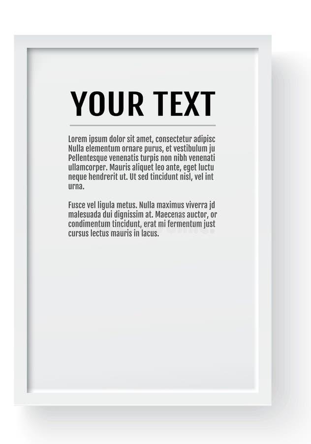Biała nowożytna rama, pionowo mockup Miejsce dla teksta, fotografii, prezenta lub inny, również zwrócić corel ilustracji wektora ilustracja wektor