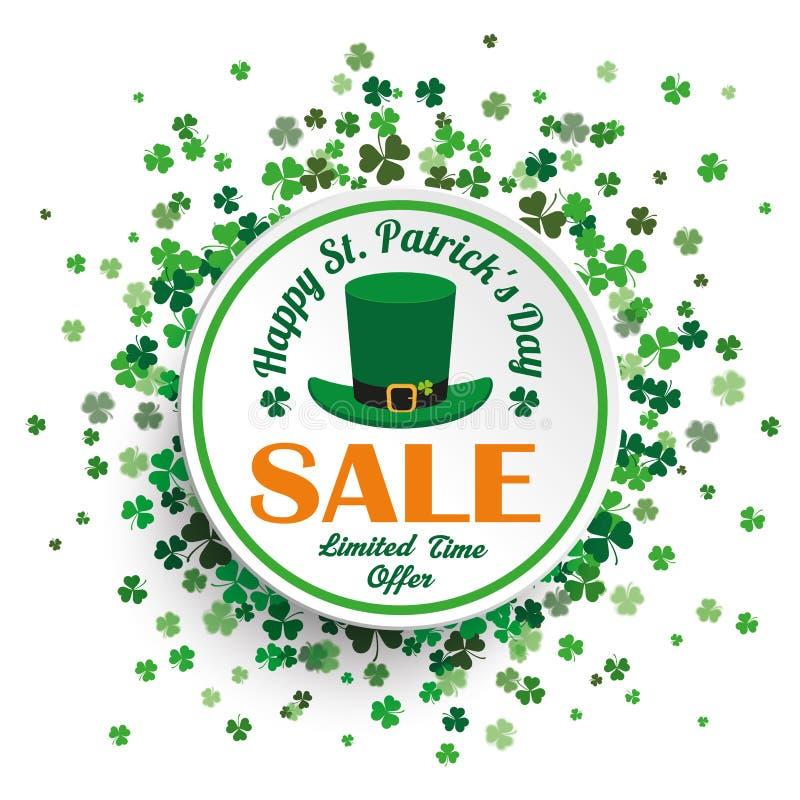 Biała okręgu St Patricks dnia sprzedaż ilustracja wektor