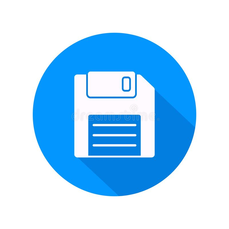 Biała opadającego dyska ikona na błękitnym tle ilustracji