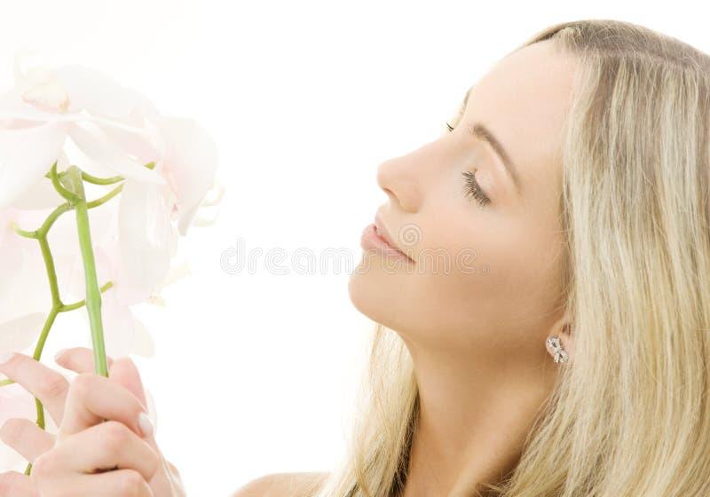 Biała orchidea obraz royalty free