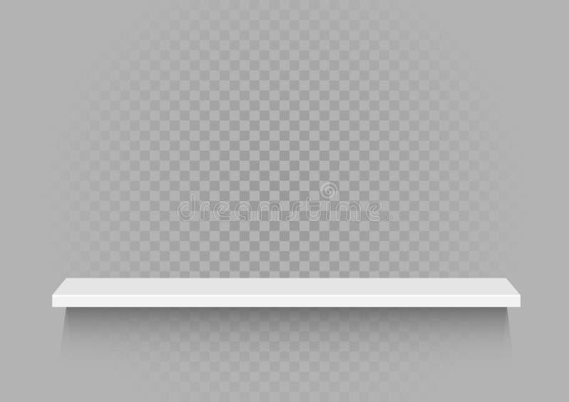 Biała półka na przejrzystym tle ilustracja wektor