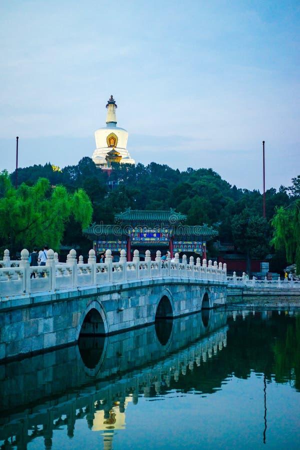 Biała pagoda zaświecał up w wieczór na chabeta kwiatu wyspie fotografia stock