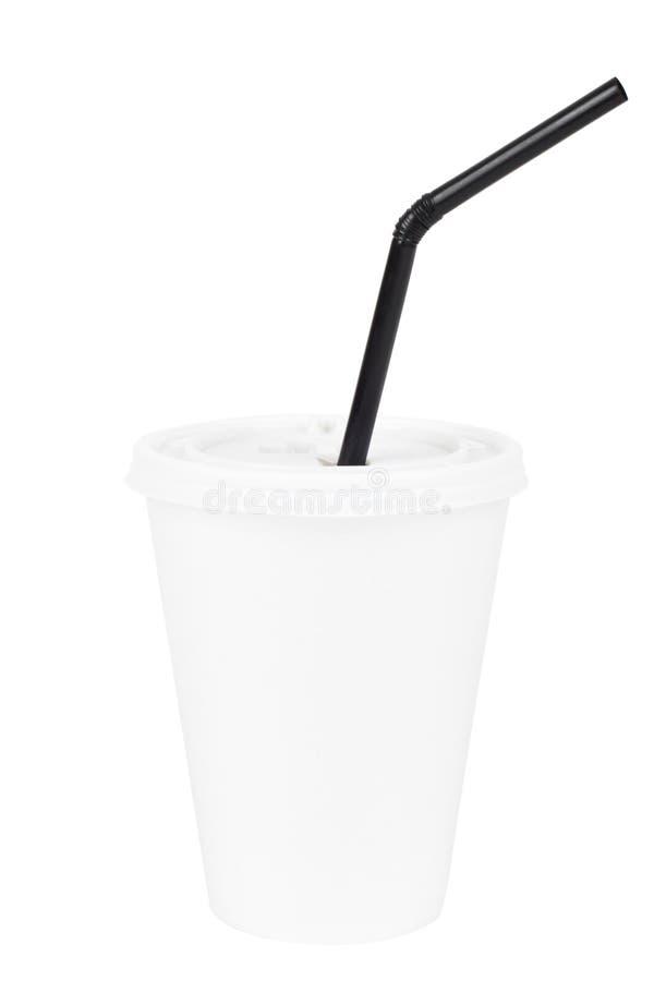 Biała papierowa filiżanka i czarna pije słoma zdjęcia royalty free