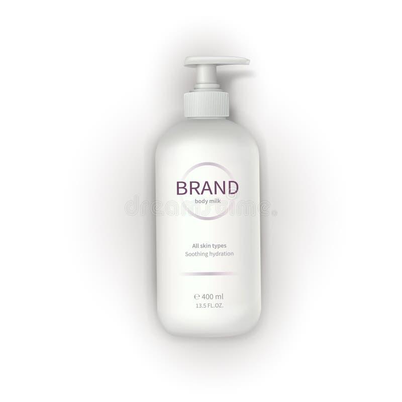 Biała plastikowa butelka z aptekarką ilustracja wektor