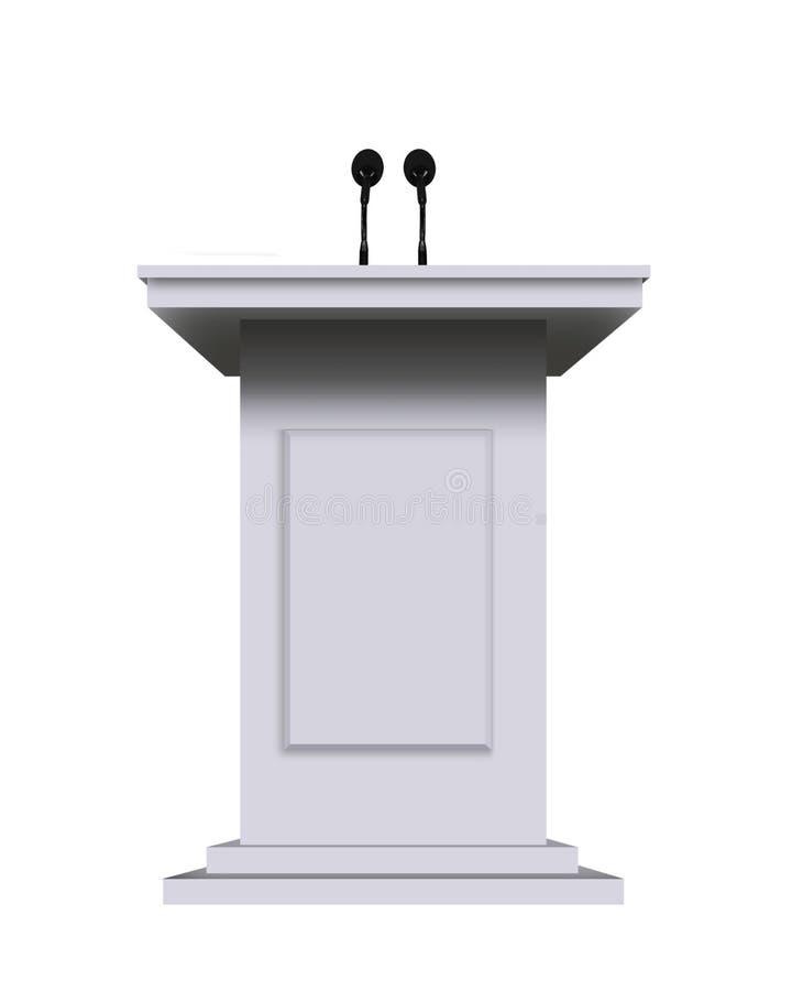 Biała podium mównica z mikrofonami odizolowywającymi na bielu ilustracji