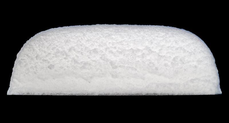 Biała pokrywa śniegu izolowana na czarnym tle zdjęcia royalty free